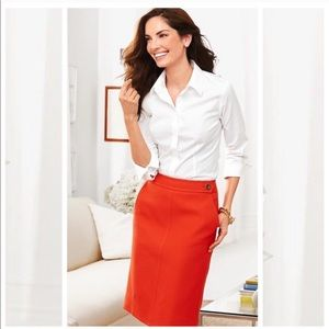 Talbots red pencil skirt with gold buttons